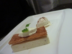 Millefeuille of British Conference pears served with cumin ice cream